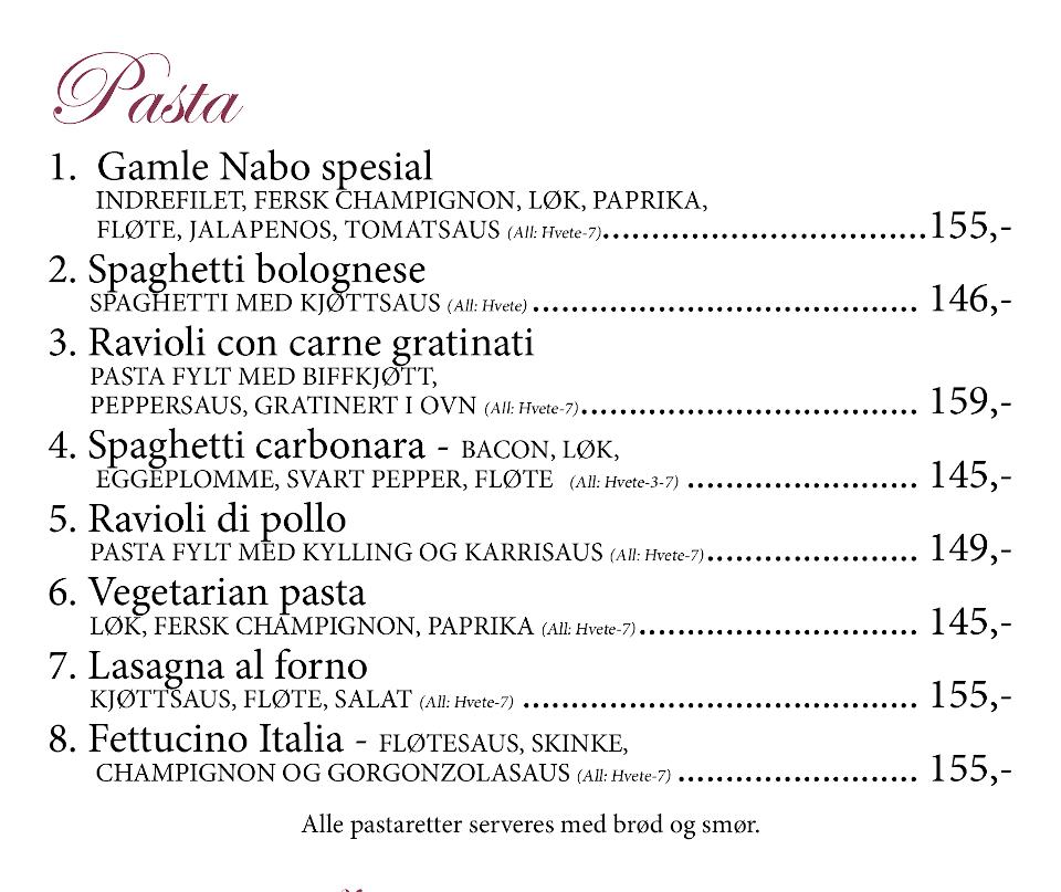 Gamle Nabo Jessheim - Meny - 09 - Pasta